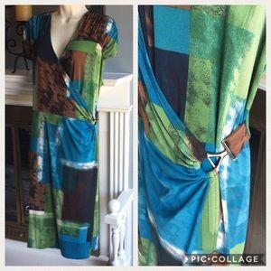 Alfani 2x Wrap Dress Cap Sleeve Knee Length EUC